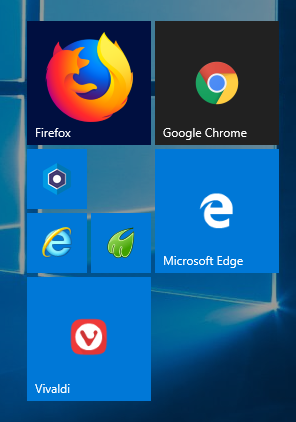Part of start screen showing tiles for Firefox, Google Chrome, Edge, Vivaldi and others.