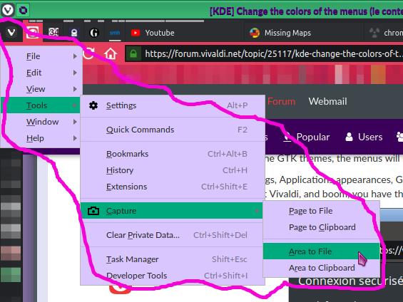 KDE] Change the colors of the menus (ie context menu