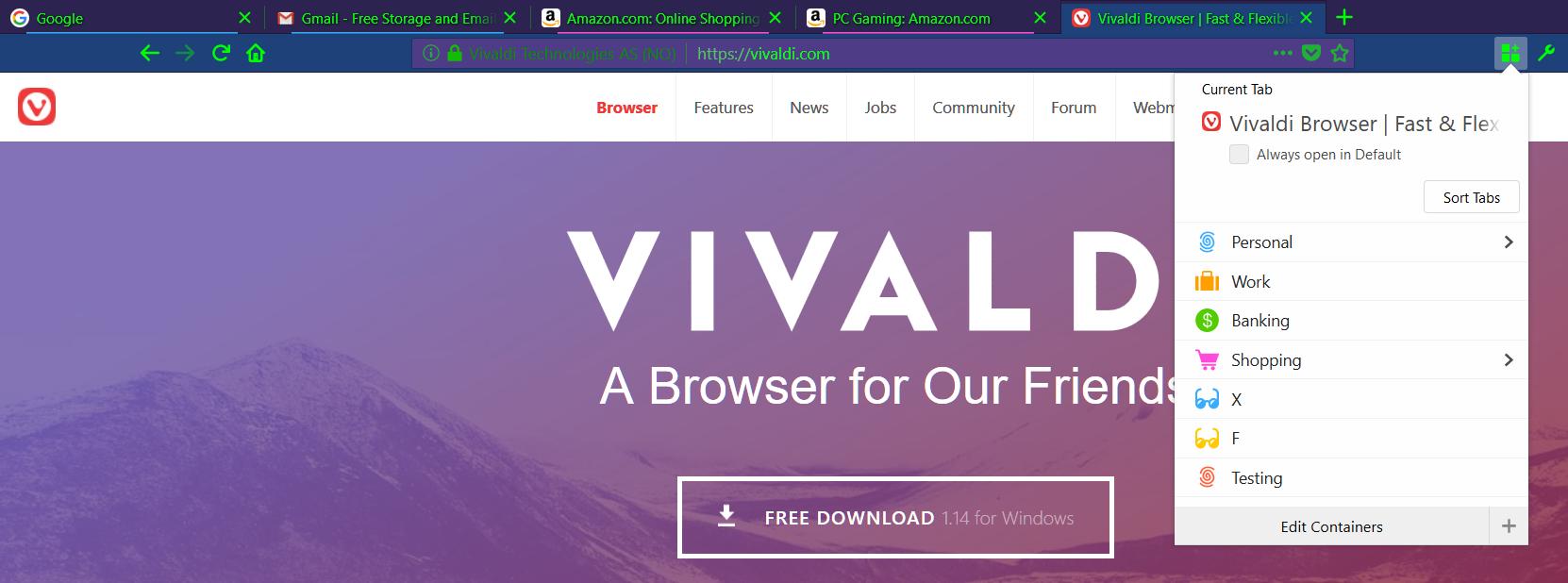 Multi-Account Containers | Vivaldi Forum