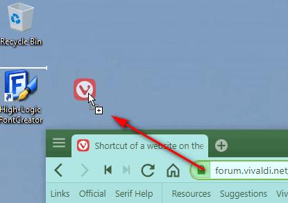 how to create shortcut of website on desktop