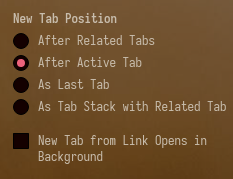 New tab position settings