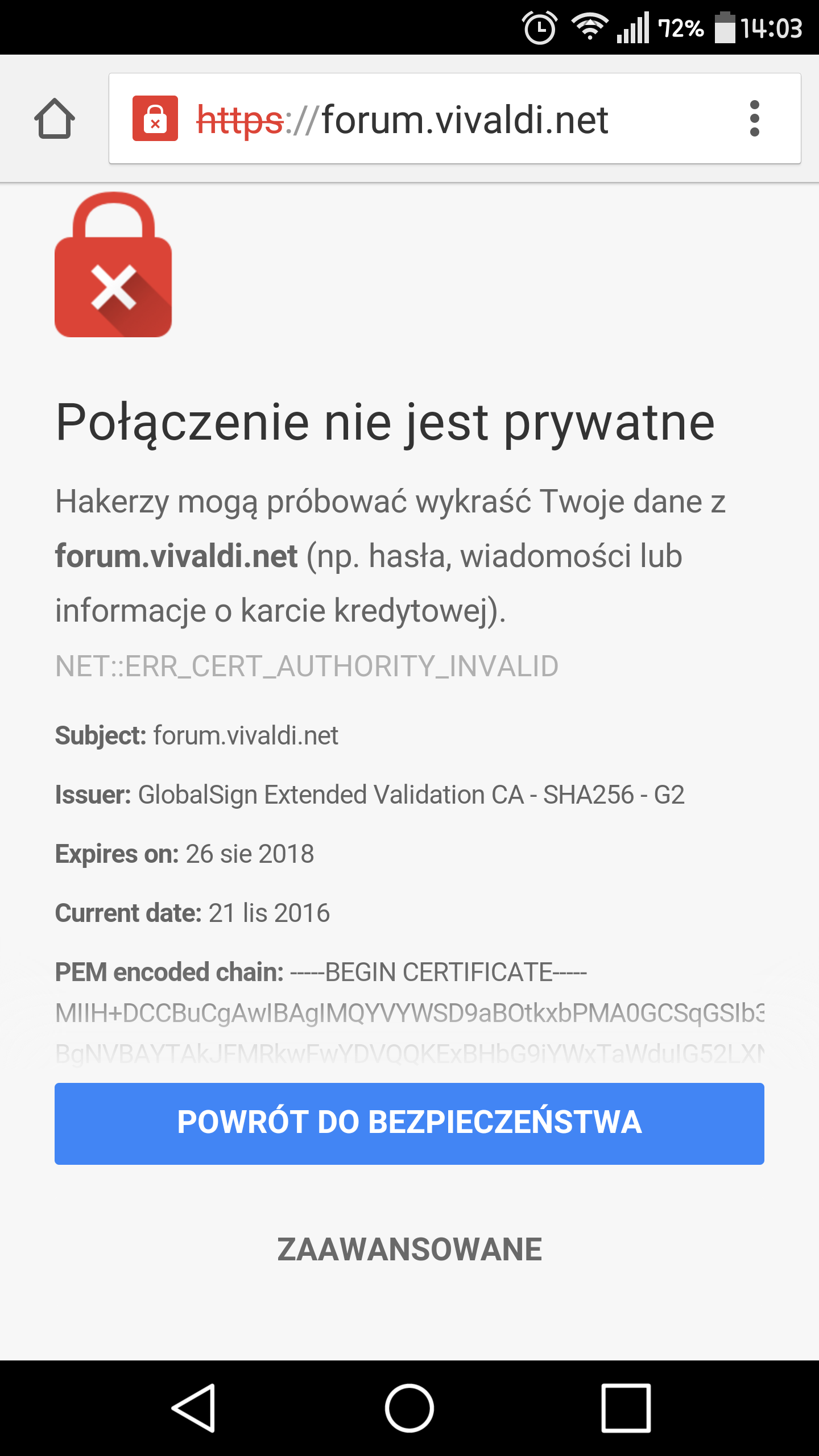 forumvaldi certification at mobile chrome