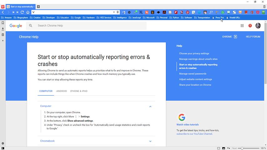 Enabling Crash Reporting | Vivaldi Forum