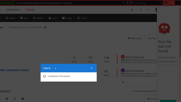 Issues with ChromeCast Extension | Vivaldi Forum