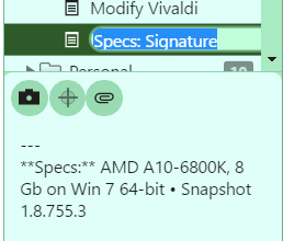 Create Notes from drag & drop - Snapshot 1 8 755 3   Vivaldi